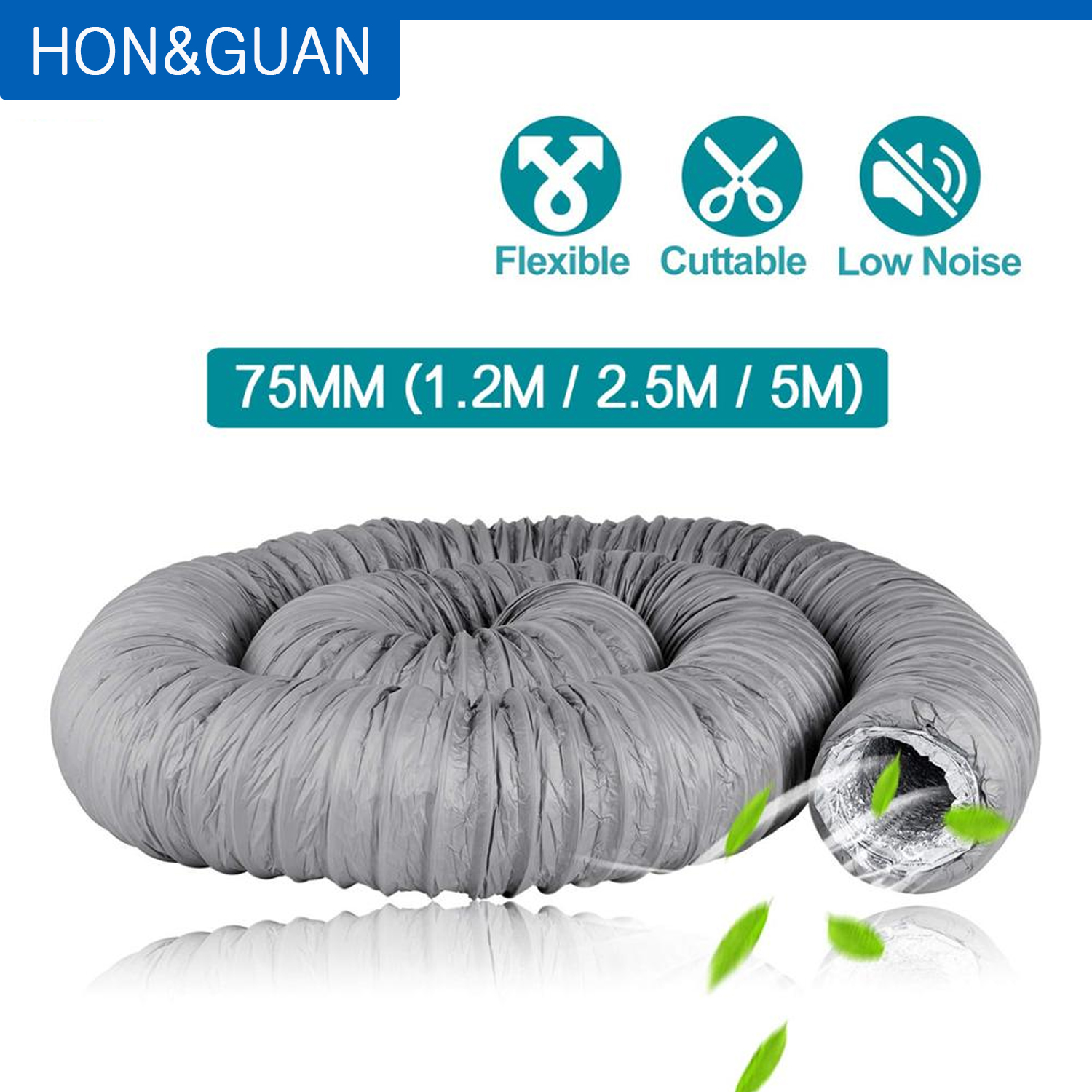 Hon/&Guan Duct Silencer Noise Reducer Hose Silencer for Inline Duct Fan 6 inch