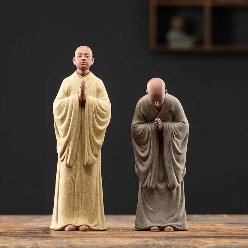 Chinesischen Zen Monch Keramik Statuen Moderne Kunst Skulpturen Zisha Kleine Monch Home Wohnzimmer Loft Zahlen Dekorative Statuen Statuen Skulpturen Aliexpress