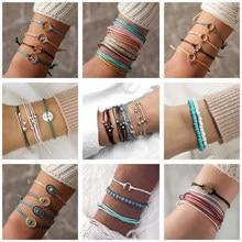 Docona pulseira colorida boêmia, conjunto para mulheres bracelete ajustável bússola montanha onda pico pulseira joias