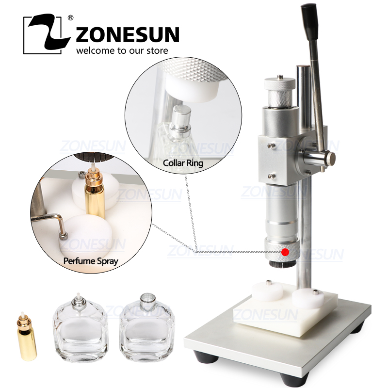 ZONESUN Manual Crimping Machine Perfume Crimper Capper Metal Collar Cap Press Capping Machine Spray Crimper Seals