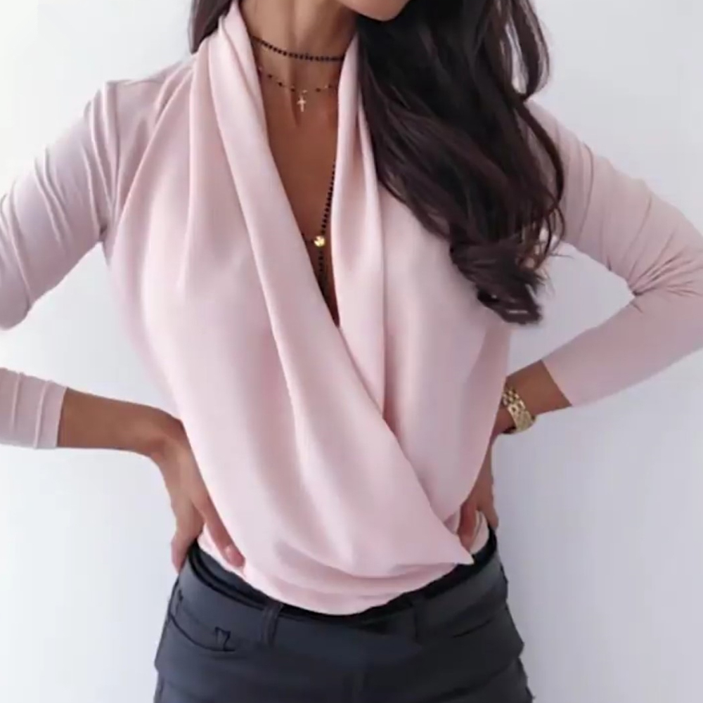 deep v neck blouse female