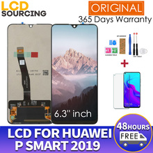 """Tela em LCD original de 6.21"""" para Huawei P Smart 2019, com moldura, peça de reposição 10 touch, touch screen digiziter assembly para POT LX1 L21 LX3"""