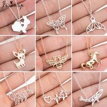 Collier ras du cou en acier inoxydable pour Femme, pendentif en forme d'animal, dessin animé, papillon, lapin, Chihuahua, chien