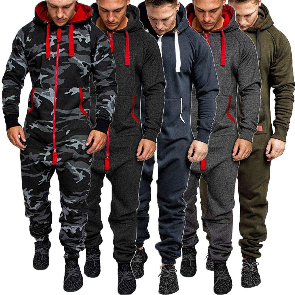 Men Pure Color Splicing Autumn Winter Casual Hoodie Print Zipper Print Jumpsuit Plus Size Top Streetwear Pantalones Hombre#G1