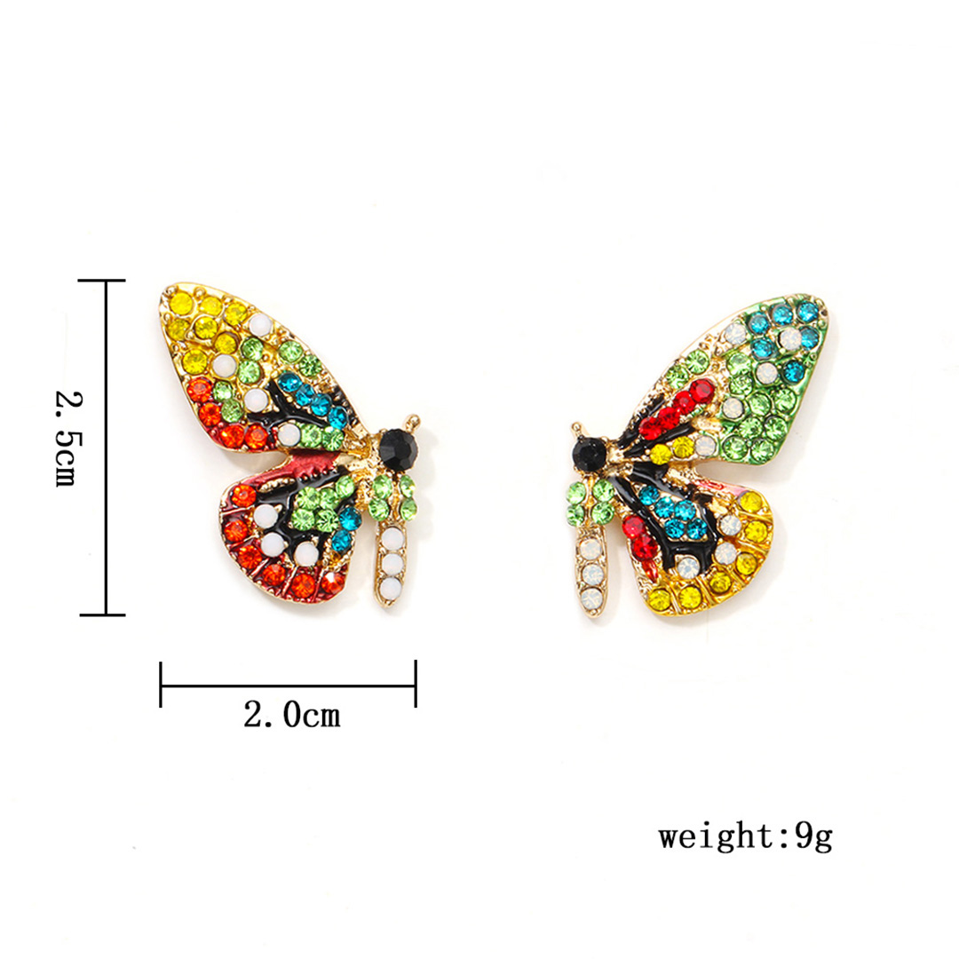 Fashion Colorful Crystal Rhinestone Butterfly Wedding Earrings For Women Bride Shellhard Statement New Design Butterfly Earrings