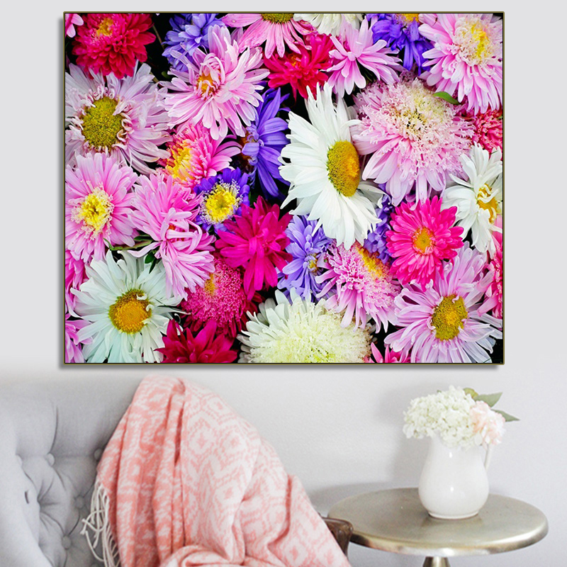 Colorful Booming Flowers Spring Popular Canvas Painting Wall Artwork For Home Office Decor Wedding Kitchen Decoration No Frame