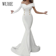 WUHE Elegant Double-breasted Bodycon Bandage Dress Fashion One  Shoulder Long Sleeve Pack Hip Fishtail Party Female Wear