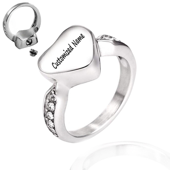 Любовь сердечко Кремация ясень кольца из нержавеющий стали памятный кольцо с урной для праха пепел Keepsake кремации ювелирные изделия Размер ...