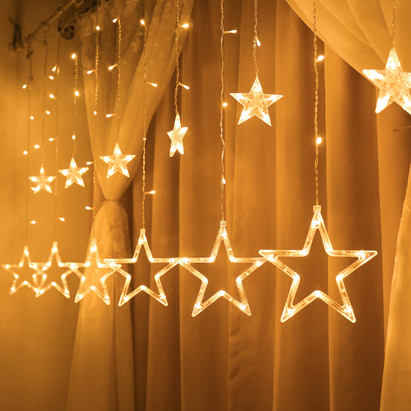 Christmas Fairy Lights Festoon Led String Lights Star Garland Window Curtain Indoor Decoration Halloween Party Wedding Lighting
