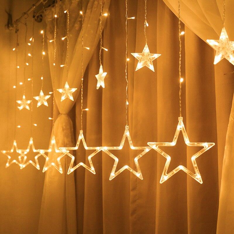 Luzes de fadas do natal festão led string luzes estrela guirlanda janela cortina decoração interior festa de halloween iluminação casamento
