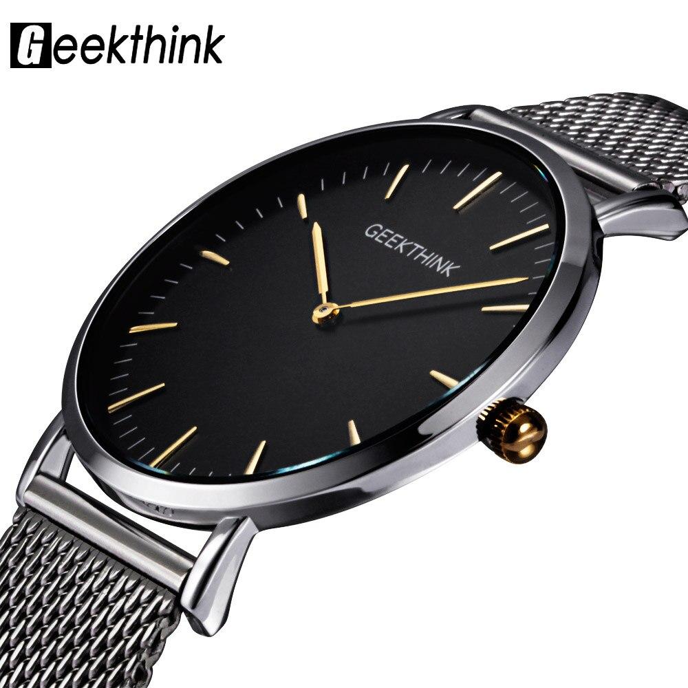 Geekthink Топ Элитный бренд кварцевые часы мужчины Повседневное Япония кварц часы из нержавеющей стали с сетчатым ремешком ультра тонкий часы мужской новыйmale malemale clockmale strap -