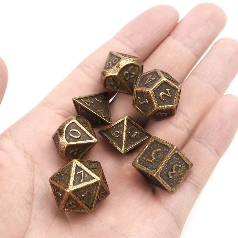 Hot 7pcs/set <font><b>Metal</b></font> Dice Digital Dice Family Party Bar RPG D&D Polyhedral Board Game D4-<font><b>D20</b></font> Whosale&Dropship image