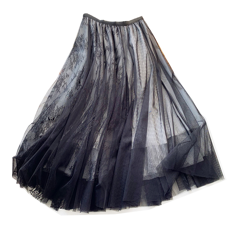 Patchwork Mesh Skirts Chic Fairy Lace Embroidered Women Tulle Skirts 2020 New Spring Summer Big Swing Black Jupe Femme Skirts image