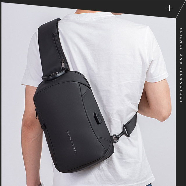 Bange Fashion Multifunction Crossbody Bags Men USB Recharging Chest Pack Short Trip Messenger Chest Bag Waterproof Shoulder Bag 4