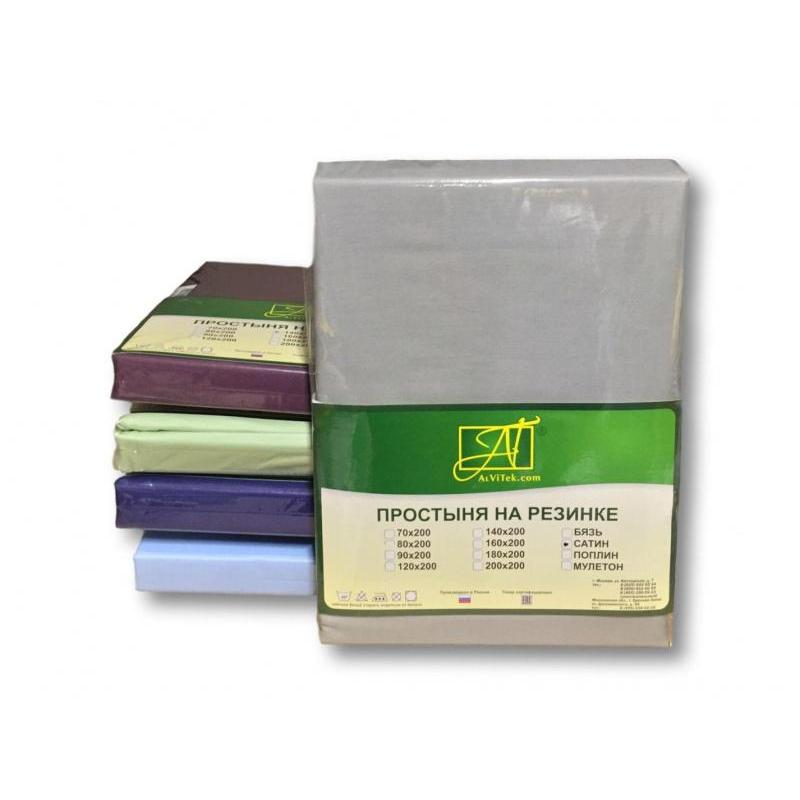 Bed Sheet with elastic band АльВиТек, 90*200*25 cm, steel