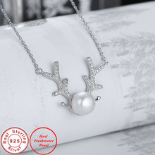 Ataullah Silver 925 Jewelry Pendant Necklace Deer Antlers Necklaces Real Natural Freshwater Pearl Chain for Women Bijoux NW081