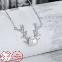 Ataullah Silver 925 Jewelry Pendant Necklace Deer Antlers Necklaces Real Natural Freshwater Pearl Chain for Women Bijoux NW081(China)