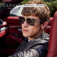 CAPONI Alloy Pilot Sunglasses Polarized Photochromic Eyeglasses For Male Day And Night Brand Design Driving Men Shades BS8725