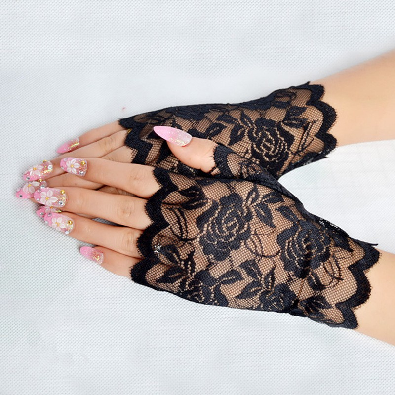 White Bridal Glove Style Sun Protection Accessories Pink Lace Hollow-out Gloves Sexy Delicate Lace Jacquard Pattern Lace Gloves