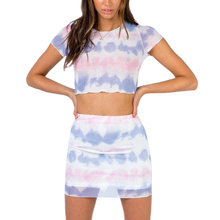 Gradient-Skirt-Sets Suits Short-Sleeve Crop-Top Two-Piece Women Casual A-Line