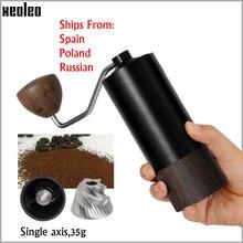 Xeoleo manual moedor de café portátil moedor de café de alumínio miller máquina de moagem de grãos de café 35g cônica rebarba moedor