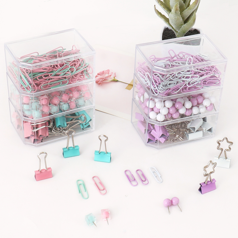 TUTU Coloful Binder Clips Push Pins Paper Clip Stationery Combination Set Pushpin Clip Escolar Stationary Set H0361
