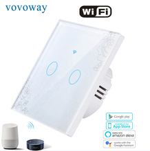 Vovoway EU Glass panel touch light switch,WIFI phone APP remote control,2Gang AC110V220V,smart Home application