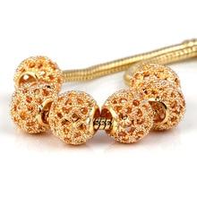 10Pcs a Lot Gold Flower Beads Fit For Pandora Charms Bracelet Round DIY Bead European Murano Czech Spacer Love Charm