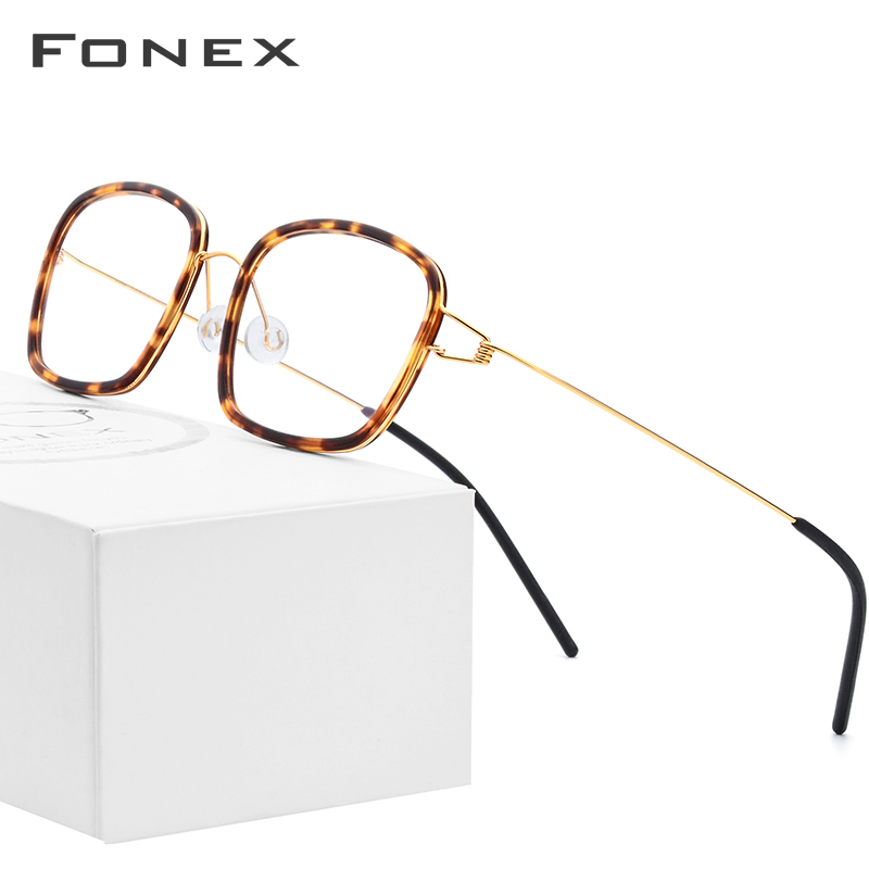 FONEX Titanium Alloy Optical Glasses Men Myopia Denmark Ultralight Prescription Eyeglasses Frame Women Screwless Eyewear 98617