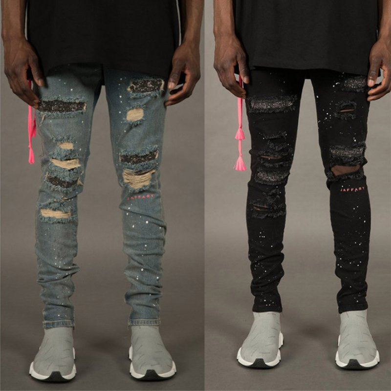 New Skinny   Jeans   Men Streetwear Hole Destroyed Torn   Jeans   Homme Hip Hop Broken Male Pencil   Jeans   Men