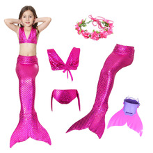 Swimmable Children Monofin finn과 인어 꼬리 비키니 세트 소녀 키즈 수영복 소녀 수영을위한 인어 꼬리 코스프레 의상