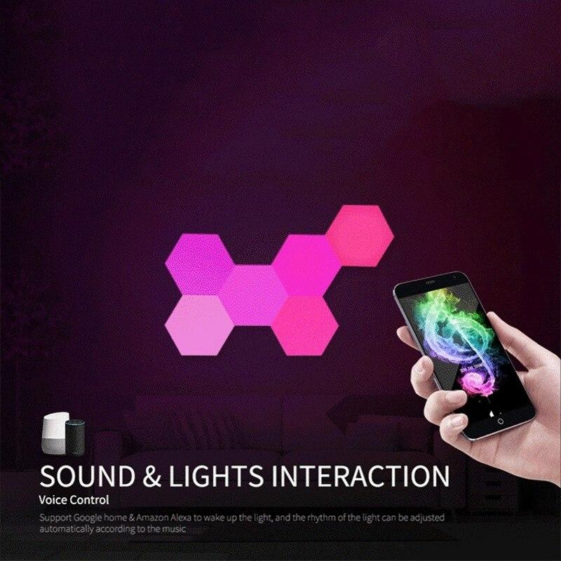 DIY светодиодный цветной квантовый светильник шестиугольный модульный сенсорный ночник магнитный шестигранный креативный подарок декорат... - 5