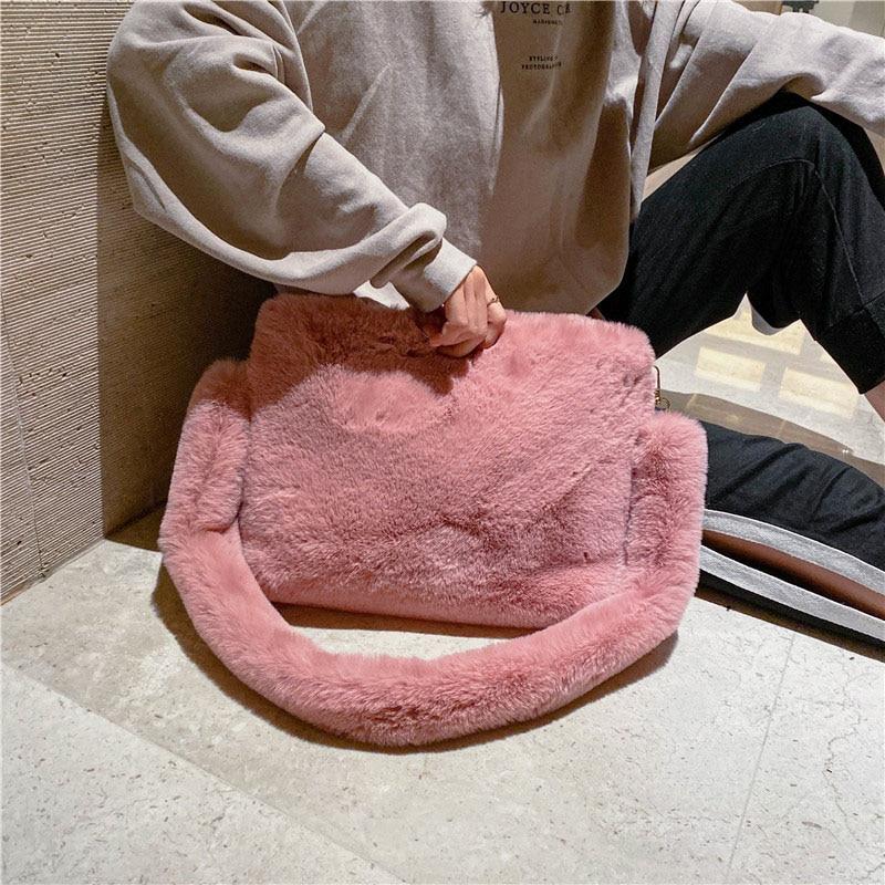 Winter Plush Shoulder Bags For Women 2019 Faux Fur Crossbody Bag Solid Color Warm Messenger Bag Bolsa Feminina