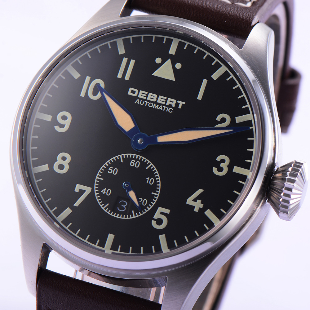 42mm DEBERT Black Dial Sapphire glass relogio masculino Brown Rivets Leather Strap Mens Automatic Watch