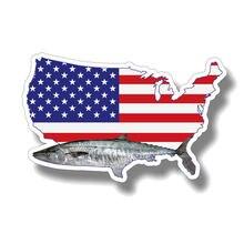 Креативная королевская скумбрия рыба флаг США автомобильная