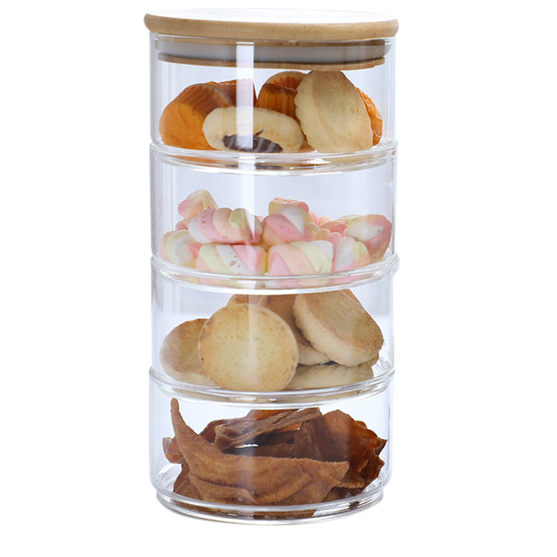 1/2/3/4-Tier Stackable Glass Apothecary Jar Kitchen Candy Cookie Storage Containers With Lid - Transparent