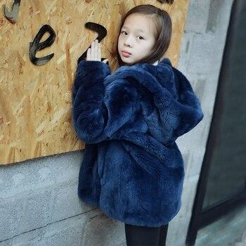 Детское меховое пальто с натуральным кроличьим мехом, Детское пальто с капюшоном, меховые куртки, пальто с натуральным мехом J0182, зима 2019