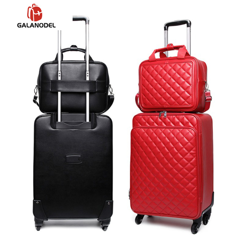 """16""""20""""24"""" Women Carry On Rolling Luggage Set Leather Travel Trolley Suitcase On Wheels"""