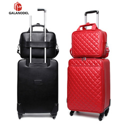 162024 Women Carry on Rolling Luggage Set Leather Travel Trolley Suitcase on Wheels