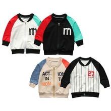 Winter Baby Clothes Casual Alphabet Cotton Pattern Zipper Patchwork Color Outfit