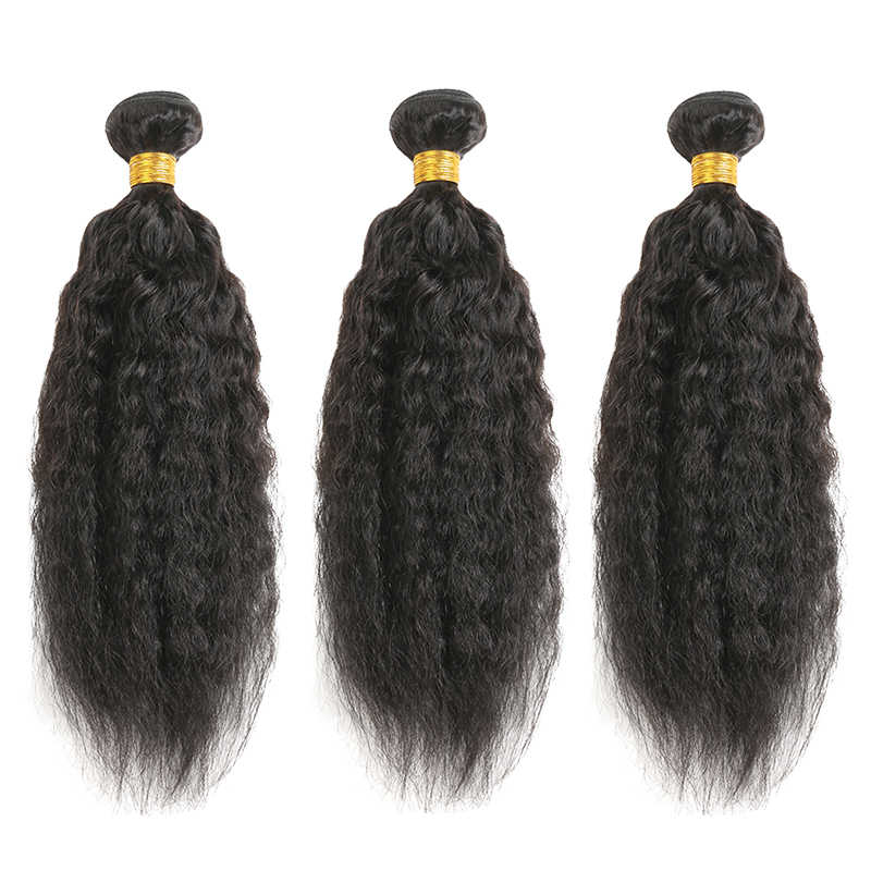 Kinky Straight Human Hair Bundles SOKU Natural Color Brazilian Human Hair Weave Bundles 3 or 4PCS Hair Weaving Non-Remy Hair