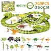 269 adet dinozor araba parça demiryolu oyuncak araba parça esnek yarış araba sihirli parça elektrikli araba Montessori oyuncaklar Boys için çocuk
