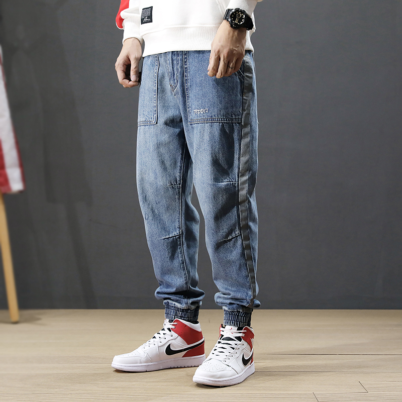 Japanese Style Fashion Men Jeans Loose Spliced Designer Big Pocket Cargo Pants Harem Jeans Streetwear Hip Hop Joggers Jeans Men