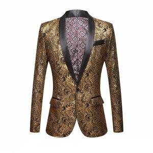 Image 2 - Mannen Vergulde Zwarte Kraag Pak Set Bruiloft Gouden Bloemen Patroon Slim Fit Party Prom Dress Tuxedo Zangers Kostuum jas