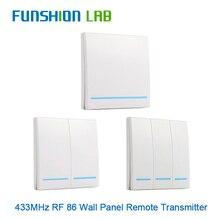FUNSHION 433MHz uniwersalny bezprzewodowy pilot Control86 Panel ścienny nadajnik RF odbiornik 1 2 3 przycisk dla domu światło do pokoju przełącznik
