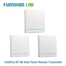 FUNSHION mando a distancia inalámbrico Universal, 433MHz, Panel de pared 86, receptor Transmisor RF, 1, 2 y 3 botones, para interruptor de luz de habitación