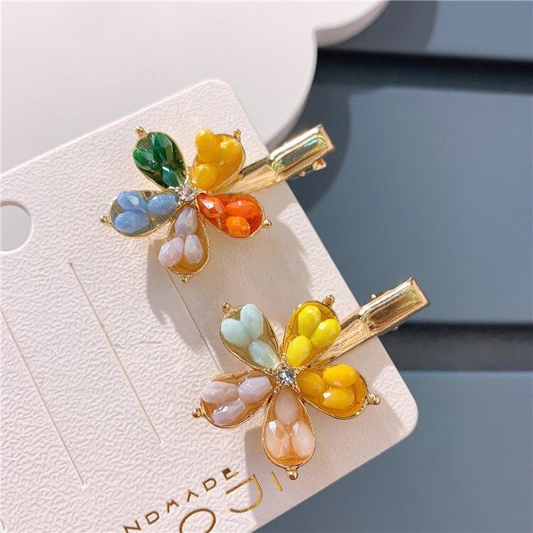 Colorful Flower Hair Clips Barrette Cute Pearl Hair Pins Rhinestone Girls Hair Accessories Crystal Hairpins 2020 New Fashion