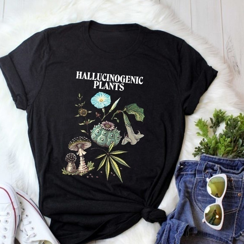 PUDO-XSX 1pcs Unisex Hallucinogenic Plants T-Shirt Flower Graphic Nature T Shirt Hipsters Vintage Fashion Marijuana Mushroom Tee