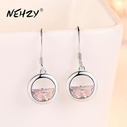 NEHZY 925 sterling silver earrings high-quality jewelry woman fashion new crystal Zircon retro long round hollow hot earrings