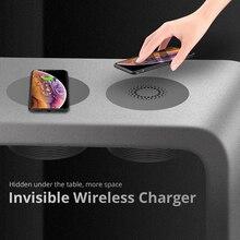 보이지 않는 제나라 무선 충전기 가구 사무실 데스크톱 숨겨진 임베디드 테이블 아이폰 11 x에 대한 빠른 충전 패드 삼성 화웨이